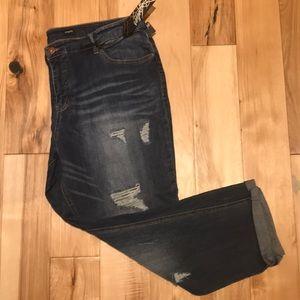 Denim - NWT dark, distressed jeans